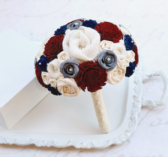 Dark Blue Flowers For Wedding Bouquets: Maroon Charcoal And Navy Blue Wedding Bouquet // Dark Red