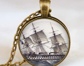Old Ship necklace , Vintage Sailboat jewelry, Vintage Ship necklace , ancient ship pendant , Old sailing ship jewelry