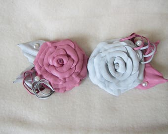 Wedding brooch White Rose leather, Wedding brooch Pink Rose leather, Pink Rose Brooch, leather brooch White rose, Rose brooch, rose brooch