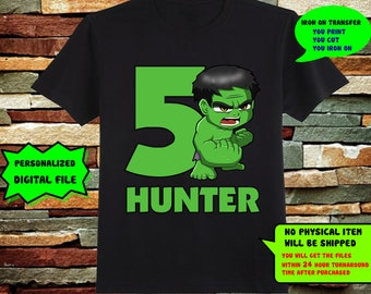The Incredible Hulk Iron On Transfer, The Incredible Hulk Iron On Transfer DIY Shirt, Birthday Shirt,Personalize, 300dpi, Digital File