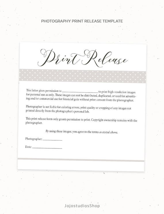 print release form template Photography Print Release Form Template Photography Template