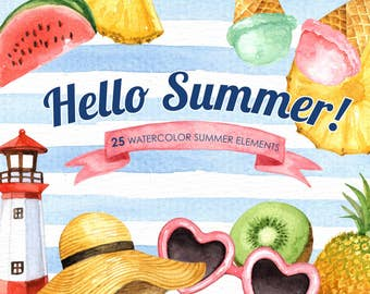 Hello Summer Watercolor clipart, Tropical Clip Art, Summer Clipart, Beach Clipart, Nautical Clipart,Shell, Pineapple, Fruit, Ice cream
