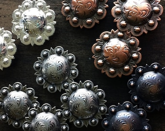 "1 1/4"" Screwback Conchos - Bright Silver, Antique Copper, Bronze, Antique Silver"