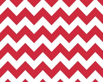 Red Medium Chevron Fabric by Riley Blake Designs - By the Yard - 1 Yard - Zig Zags - Red and White
