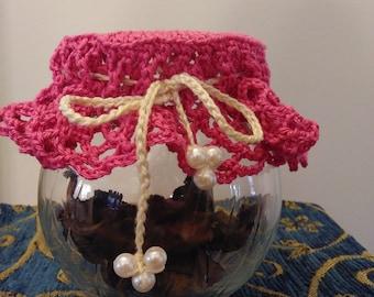 Potpourri Holder, Glass for Potpourri, Glass Jar for Seashells, Glass Jar for Stones, Crocheted Lid