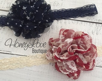 Star chiffon and lace layered headband flower hair bow - maroon rustic red and ivory lace - navy and white stars, rustic country, July 4th