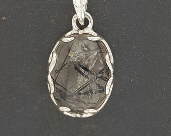 Pronged Bezel Pendant in Sterling Silver with Tourmalated Quartz