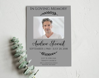 Funeral Program Template, Printable Funeral Program Template, Memorial Program Template, Funeral Card Template, Obituary Template, 0079