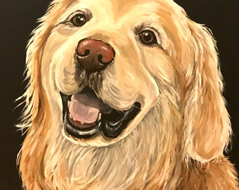 Golden retriever  art print from original painting,  Golden Retriever art print