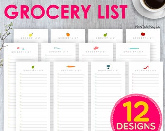 Grocery List Notepad, Groceries, To Do List, Grocery Notepad, Shopping List, Gift for Her, Household, Printable, Planner Insert