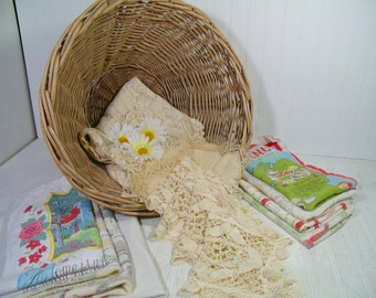 Wicker Laundry Basket with Vintage Old Lace Faded Linens Collection Large Round Heavy Rustic Grape Vine Gift Basket Full of 16 Fabric Pieces