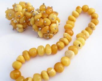 Egg Yolk Amber Stretch Bracelet and Earrings Set