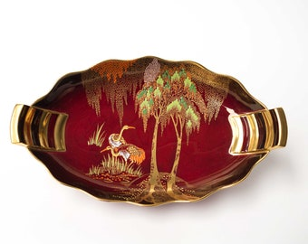 Carlton Ware Rouge Royale Storks - Large Footed Display Bowl