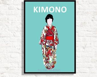 KIMONO print, Japanese Kimono print,