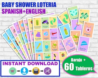 Lotería Baby Shower Ingles y Español. Baraja + 60 cartas. Juego para baby shower. PDF para imprimir. English and Spanish. Instant download
