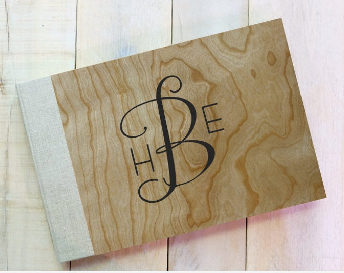 Wood and Linen Vintage Style Guest Book for Rustic Wedding or Home in Natural Cherry Wood