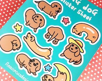 Dachshund sticker sheet stickers planner vinyl kiss cut matte weenie dog sausage wiener hotdog hot dog scrapbooking cute animal doxie kawaii