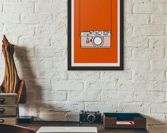 Minimal Camera Print - Leica M3 Illustration - Vintage Camera Art Print - Photographer gift - Orange Risograph Print - Simple home decor