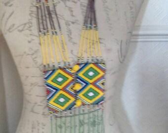 Beaded Tie Necklace (Zulu:Masai)