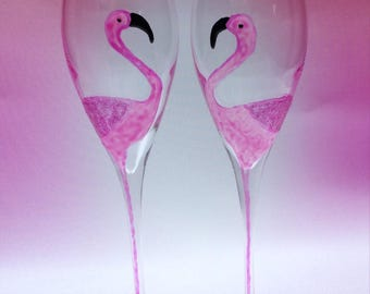 Pair of Pink Flamingo champagne flutes