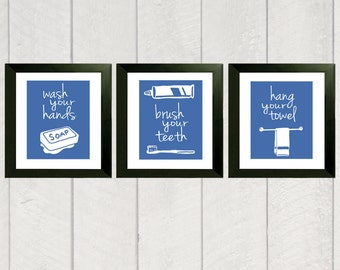 Bathroom Art Print - Set of 3 - Color - 8x10