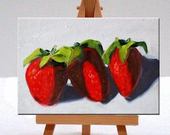 Strawberries, Still Life, Oil Painting, Original 5x7, Small Canvas, Kitchen Fruit, Wall Decor, Red Berries, Food Art, Little Miniature, Tiny