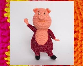 Amigurumi pattern Gunter Pig Sing. Crochet pig pattern Cartoon toy. Amigurumi swine. Sing cartoon Amigurumi pig. Crochet Piggy doll. Piglet