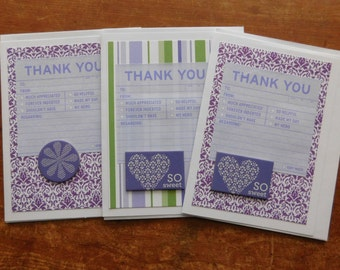Thank you cards - Thank You Note Greeting cards - Thank you note cards - set of 8