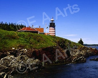 West Quoddy Light Lubec Maine-Panoramic Photo  Coastal Maine Panoramic Photography Paul Vose E A Arts