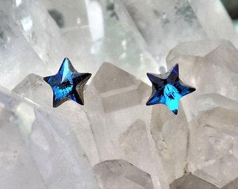 Crystal Earrings 5mm Star Swarovski Rhinestones, Stud-Post Earrings, 1 Pair, Surgical Steel Posts, 5 Colors