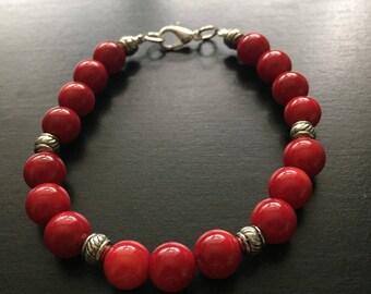 Red Coral Bracelet -8in