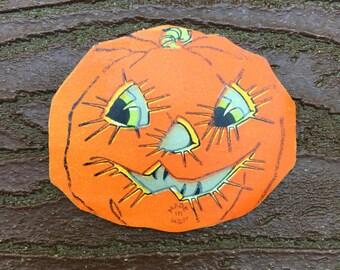 Vintage Halloween Decoration Paper Jack O'Lantern Pumpkin