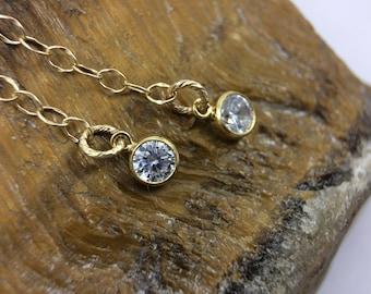 Dainty Gold CZ Diamond Drop earrings, CZ chain earrings,  14K Gold Filled earrings, cubic zirconia earrings, CZ Stone earrings, Gift for her