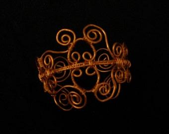 Handmade copper scrolled wirework cuff bracelet