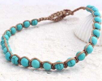 Turquoise anklet, beach anklet, turquoise macrame, bohemian turquoise jewelry, macrame anklet, ankle bracelet, anklet for women, anklet men
