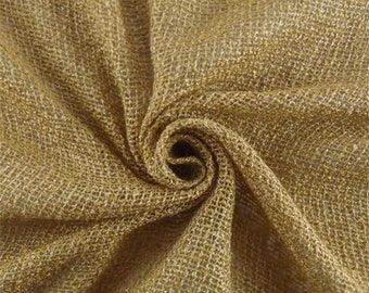 Golden Beige Rayon/Linen Boucle Netting, Fabric By The Yard