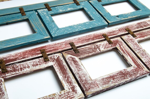 set of 2 barnwood collage rustic frames 3 5x7 multi opening. Black Bedroom Furniture Sets. Home Design Ideas