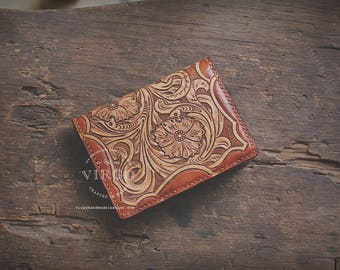 Sheridan hand tooled mini wallet | Personalized Vintage leather handmade card case | Gift for him | Anniversary Birthday Present | Handcraft