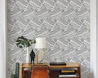 Monochrome Diamond Wallpaper/ Black and White Removable Wallpaper/ Self-adhesive Wallpaper / Wall Covering - 136