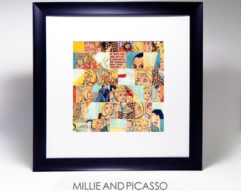 Paper Collage, Original Collage Art, Millie The Model, Picasso, recycled comic book, square wall art, vintage comic book, mosaic collage art