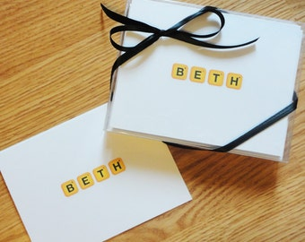 Personalized Note Cards - Words with Friends Style Note Cards - Christmas Gift - set of 10