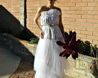 Long Tulle Skirt-Tulle Skirt-Tulle Wedding Skirt-Tulle Wedding Dress-Toulous Tissue Linen Layered Tulle Bride Chic Maxi Skirt