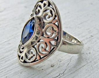 Vintage Sterling Silver PSCL Peter Stone Ornate Ring Size 8 Man-made Sapphire
