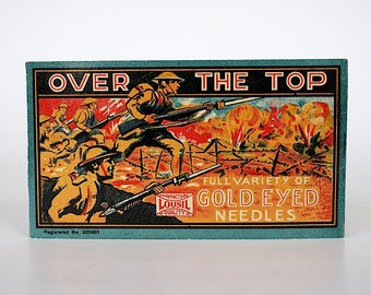 Vintage Sewing Needle Book - Vintage Sewing Needles - Needle Booklet - Gold Eye Needles - Made in Germany - WW 1 Trenches - WW 1 Dough Boys