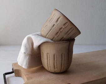 Small Ceramic Mug, Small Pottery Bowl, Modern Pottery Bowl, Black Ceramic Bowl, Herbal Tea Bowl, Beige Ceramic Planter, Beige Ceramic Bowl