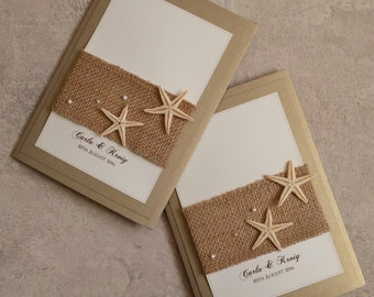 Starfish | Beach | Hessian | Pocketfold | Wedding Invitation
