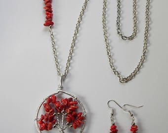 Necklace and earrings. tree of life and coral leaves.
