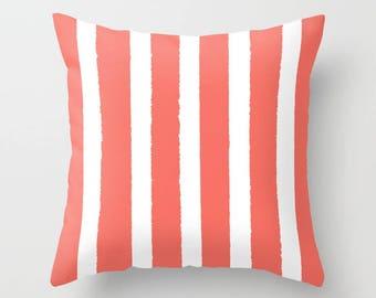 OUTDOOR Throw Pillow . Coral and White Outdoor Pillow . Stripe patio cushion . Modern Pillow . 16 18 20 inch . Salmon Lumbar Pillow