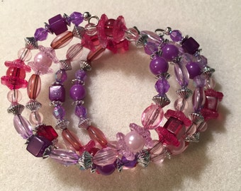 Bracelet, Purple and pink Flower beads with Silver-tone spacers
