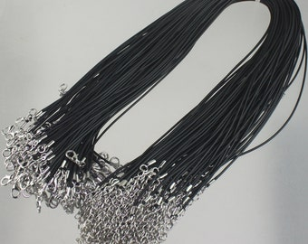 100 Black Necklace Cord 1.5mm 18-20 inch adjustable BLACK compressed cotton HIGH quality cord necklace - Ship from USA